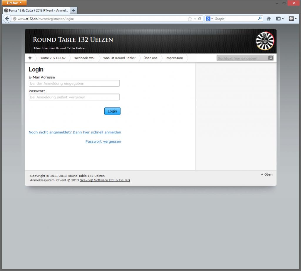 Jederzeit können sich Besucher einloggen und Ihre Daten ändern und Events hinzubuchen